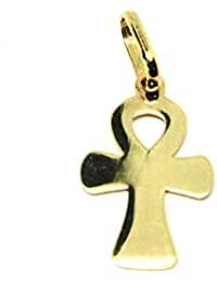 Colgante de oro amarillo 750 18 K, cruz de la vida, Ankh, llave