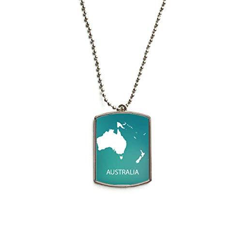 QQJSY Halskette mit Anhänger aus Edelstahl, Motiv: Australien/Ozeanien/Kontinent