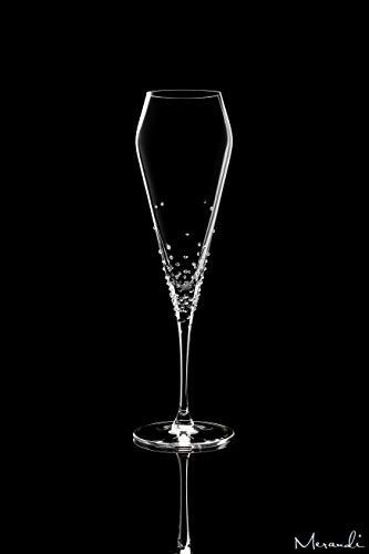 Merandi verus - set di 2 bicchieri da champagne in cristallo swarovski®, 240 ml
