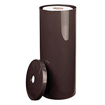 mDesign Portarrollos de papel higiénico – Elegantes accesorios de cuarto de baño de plástico resistente – Dispensador de papel con tapa para 3 rollos – marrón oscuro