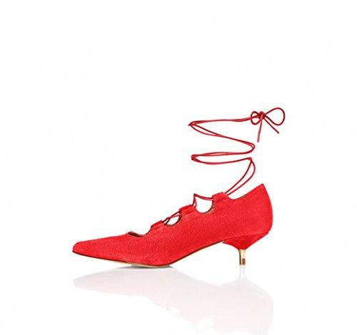 FIND Damen Leda Ankle Strap Heels, Rot (Red), 39 EU (Schuhe Leder-ankle-strap)