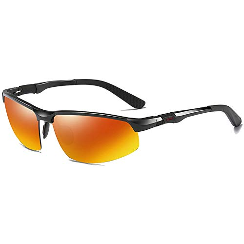 KJDFN Radfahren Sport Aluminium-Magnesium Polarisierte Sonnenbrille Rot/Braun Herrenfahrbrille Trend (Farbe : Red)