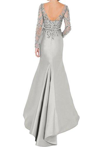 TOSKANA BRAUT Elegant Silver Damen Rund Paillette Satin Band 2017 Abendkleider Bodenlang Brautmutterkleider Schlitz Langarm Neu Weiß