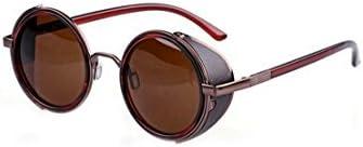 SODIAL(R)Gafas de sol de Steampunk clasica Redonda de Estilo vintage de los anos 80 - Bronceada + Marron oscuro