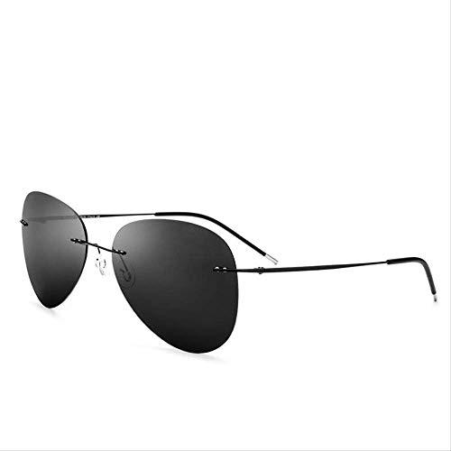 LKVNHP Neue Hochwertige Randlose Sonnenbrille Titanium Männer Markendesigner Ultraleicht Männlich Neue Licht Rahmenlose Polarisierte Sonnenbrille Für FrauenGrau