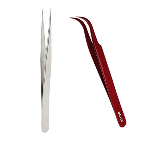 Homyl Kit 2x Pince à Epiler Antistatique de Précision en Acier Inox à Extension de Cils Pincette à Faux Cils