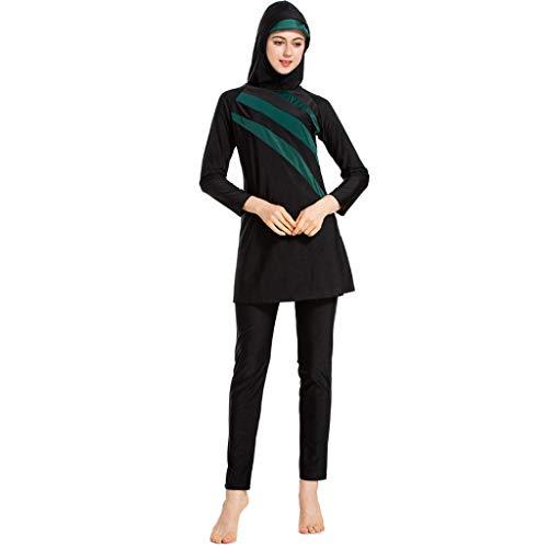 Lonshell Muslimischen Frauen Patchwork Langarm Top + Hosen Badeanzug mit Hijab 3-Teilige Burkini Sets Modest Bademode Islamischen Damen Vollständige Abdeckung Bescheidene Badebekleidung
