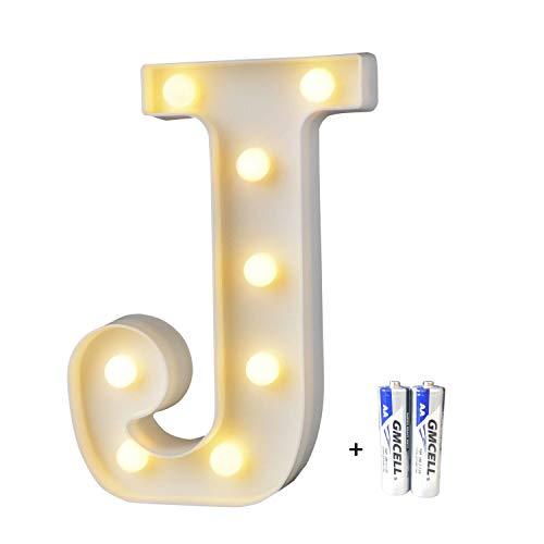 LED Buchstabe Lichter Alphabet, LED Brief Licht, Led dekoration für Geburtstag Party Hochzeit & Urlaub Haus Bar - Buchstabe J