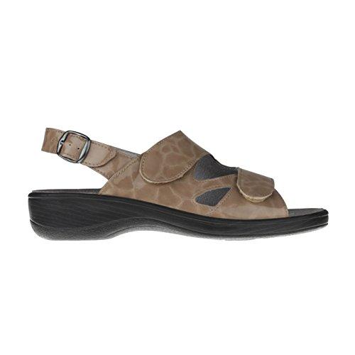 tessamino Damen Sandale aus Sola-Stretch, klassisch, Weite H, für Einlagen Hellbraun
