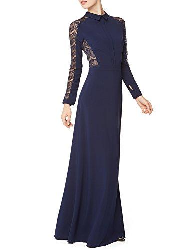 FOURFLAVOR Abendkleid Ezra Elegant Modern Abendkleid Fashion Spitze Beinschlitz Sexy Maxi Langarm Abendmode Tailliert 98% Polyester, 2% Elasthan Blau