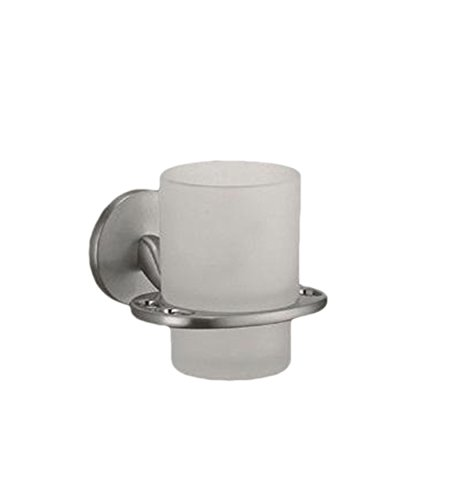 Klar Glas Tumbler/Cup Zahnbürstenhalter-Wand montiert Nickel/Chrom glänzend Aufhänger glanz-silber -