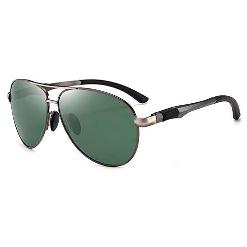 Z&HA Sport-Sonnenbrille Der Männer Treibender Eyewear Fahrer Polarisierte Gläser Der Fliegerart Al-Mg Rahmen, Fischen Radsportend Schutzbrillen,Gundarkgreen