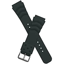 20 mm wide BLACK PU watch strap to fit Seiko/Citizen/Orient/Casio etc divers watches