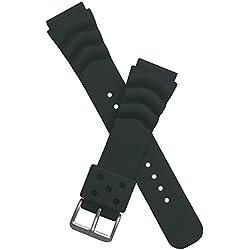 20 mm wide BLACK PU watch strap to fit Seiko/Citizen/Orient/Casio etc divers watches