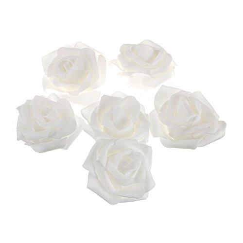 ROSENICE 50 Stück künstlichen Schaum Rosen Blumen für zu Hause Hochzeitsdekoration (weiß) (Weiße Rose Künstliche)