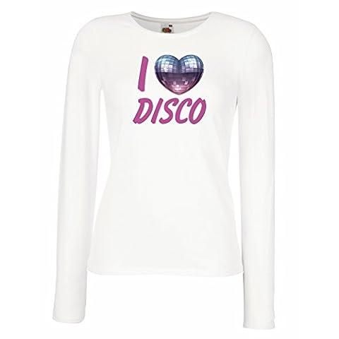 Manches longues Femme T-shirt I Love Disco - vêtements de musique rétro (X-Large Blanc Multicolore)