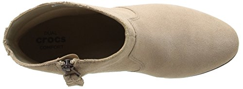 CROCS - Leigh Suede Wedge Bootie - tan Tan