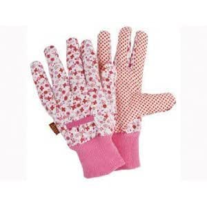 Briers Ditzy Grip Ladies Cotton Gardening Gloves - Pink
