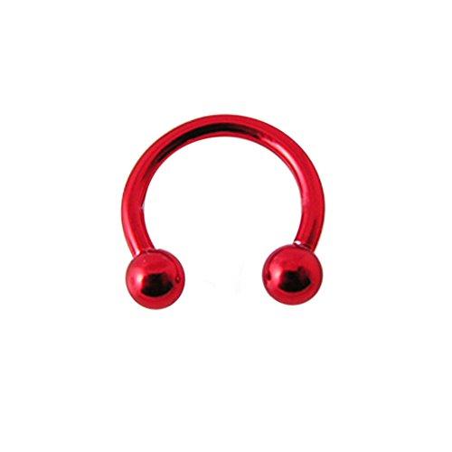 16 Gauge - 8MM Länge roten Neon eloxiertem 316L chirurgischer Stahl Circular Barbell mit Kugel Septum Piercing