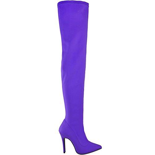 donna lycra lungo sopra al ginocchio coscia Stivali stretch tacco alto BALI taglia brillante viola LYCRA