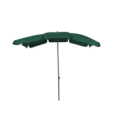 greemotion Sonnenschirm mit UV-Schutz - Balkonschirm in Grün-Grau - Gartenschirm knickbar - Terrassenschirm rechteckig - Outdoor-Schirm für Balkon, Terrasse & Garten