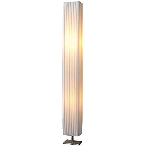 Design Stehlampe PARIS weiss 120 cm Stehleuchte mit Chrom-Fuß Wohnzimmer Lampe Leuchte Standleuchte