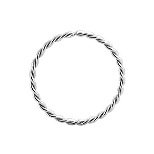 9K White Gold 22 Gauge - 8MM Durchmesser kontinuierliche Twister Hoop Nasenring Nase Piercing