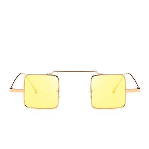 Feixiang® occhiali da sole quadrati donna & uomo retrò occhiali da sole con montatura in metallo occhiali da sole con aviatore da esterno occhiali colorati con trattamento uv integrato (d)