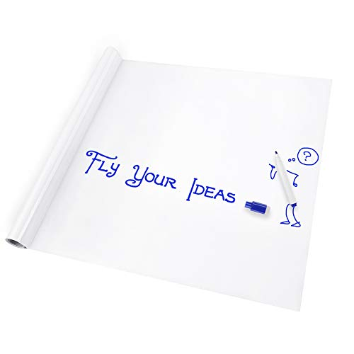 Vinilo Pizarra Blanca Adhesiva de Pared Lámina Blanca Pizarrón Adhesiva Perfecto Organizador/Planificador a Oficina Casa Escolar Fácil Escribir y Borrar 44.5 * 200cm Con un Gratis Rotulador