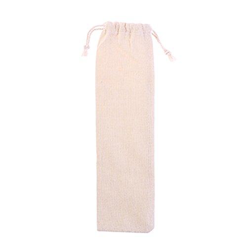 BESTONZON 1 Stück Baumwolle und Leinen Tasche Stroh Tragetasche für Edelstahl Trinkhalme Besteck Gabel Löffel Lagerung -