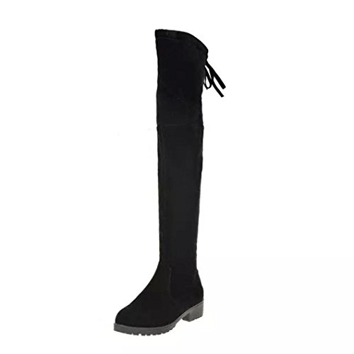 Botas Mujer, Transer® 2017 Mujeres Invierno Otoño Moda Mediados Talón Bottom Botas Rodilla Alta Pierna Botas Largas (37, Negro)