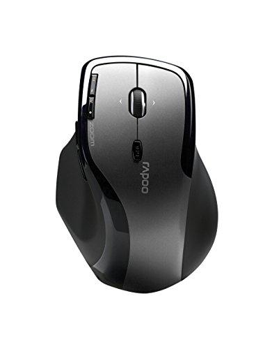 Rapoo 7600 Plus kabellose Maus (2.4 GHz Wireless, optisch, 1000 DPI umschaltbar, 6 Tasten,  4D Mausrad, Nano-USB für PC, Laptop, iMac, Macbook, Microsoft) grau