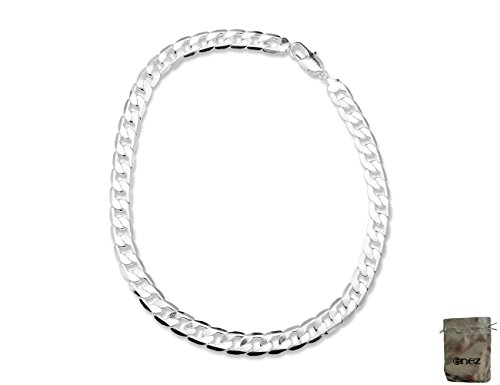 Enez Halskette Panzerkette 12mm 50cm 925 Sterling Silber plattiert + Geschenkbeutel R320a