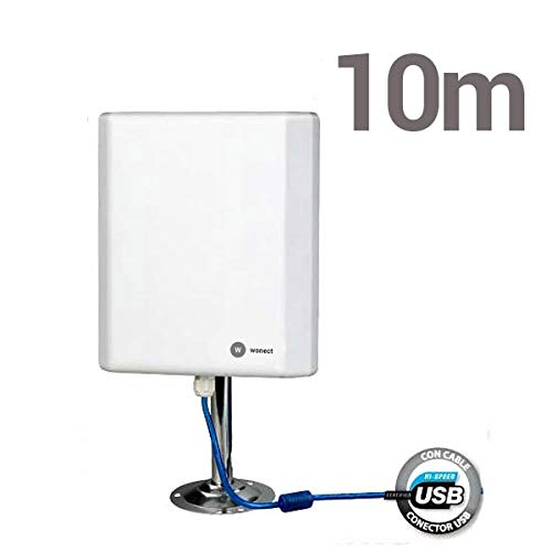 ANTENA WONECT 10 METROS PANEL PLANAR 36DBI EXTERNA COMPATIBLE AUDITORIA CHIPSET RALINK 3070 EXTERIOR CON 10M CABLE USB ACTIVO