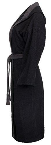 BRANDSSELLER Damen/Herren Bademantel aus naturreiner saugfähiger Baumwolle in drei Farben - Größen S-XXL Schwarz/Grau