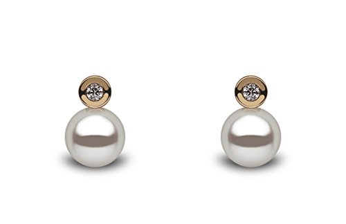 Kimura 6mm Cultured White Freshwater Pearl and Diamond Stud Earrings 18ct Rose Gold