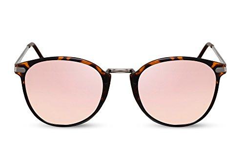 Cheapass Rund-e Sonnenbrille Verspiegelt Rosé-Gold Braun-Schwarz UV-400 Festival-Brille Metall Damen Herren