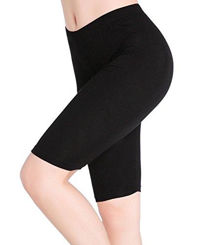 CnlanRow Women Under Skirt Shorts Knee Length Leggings Soft Stretch Short Pants Fitness