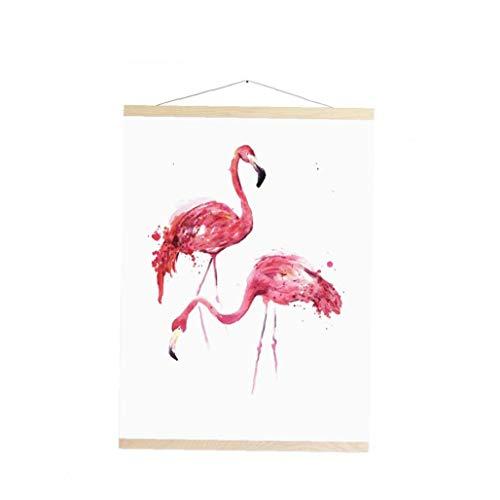 Poster Flamingos Hängen Naturholz Bilderrahmen Poster Rahmen Für Bild Opera-Leinwand Wandhalter Hängerahmen Wohnkultur -