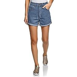 oodji Ultra Mujer Pantalones Cortos Vaqueros con Dobladillos, Azul, ES 40 / M