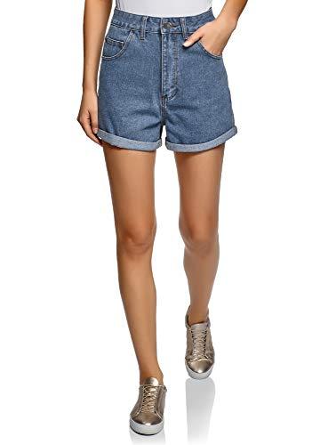 Oodji ultra donna shorts in jeans con risvolti, blu, w30 / it 48 / eu 44
