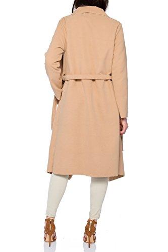 Kendindza Damen Mantel Trenchcoat mit Gürtel OneSize Lang und Kurz (OneSize, Camel Lang) - 3