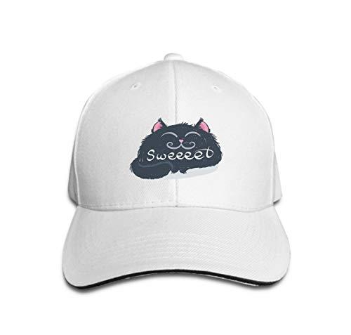 n Sandwich Peaked Cap Adjustable Baseball Hats Cute Monster Kitten Text Print Design Poster Card Label Sweet c White ()