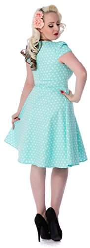 Dolly and Dotty�?'Claudia�?Retro Polka Dots Tupfenkleid mit kurzen Ärmeln Blau (aqua A)