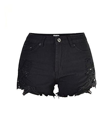 Shorts Damen Spitze Häkeln Tassel Hohe Taille Denim Loch Jeans Jeans Hot Pants mit Taschen