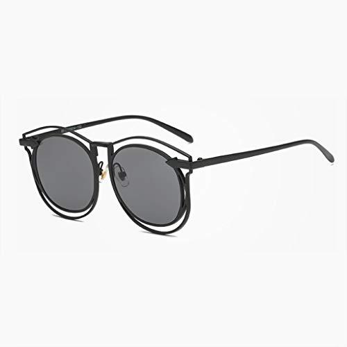 DX Neue Dame Mode hohlen Pfeil Metall runde Box Street Shot Fahren Outdoor Anti-Glare schutzbrille polarisierte Sonnenbrille (Farbe: schwarz Rahmen schwarz grau objektiv)