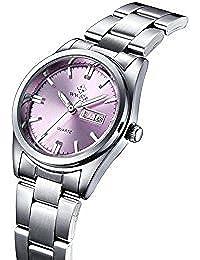 9b0e5fcfcbdc wwoor mujeres moda rosa Dial correa de acero inoxidable reloj Casual  Business impermeable cuarzo Watche