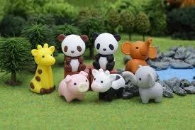 Iwako Zootiere Typ B - Panda, Elefant, Schwein, Kuh, Giraffe japanischen Radierer (7 Stück)