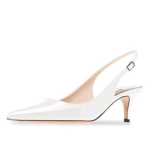 Kitten High Heel (Lutalica Frauen Kitten Heel Spitze Patent Slingback Kleid Pumps Schuhe für Party Patent Weiß Größe 43 EU)