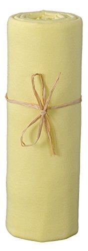 P'tit Basile - Drap housse bébé en Jersey de coton Bio pour matelas 70x140 cm, jaune soleil. Extensible avec son élastique tout autour, Coton peigné de qualité supérieure
